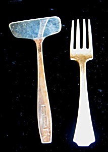 Vintage Sterling Child's Fork And Pusher