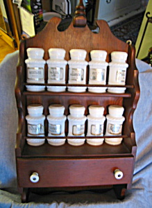 Vintage Wood Rack And Spice Jars
