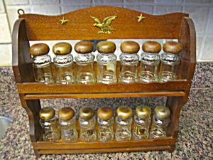 Retro Wood Spice Rack W/jars