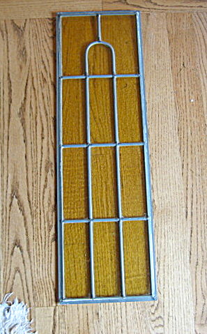 Vintage Stained Glass Amber Panel