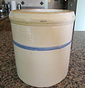 Blue Banded Antique Stoneware Crock