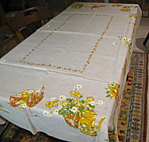 Vintage Linen Kitchen Tablecloth