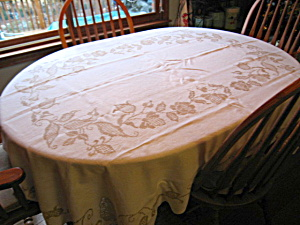 Vintage Crochet Embroidered Oval Tablecloth
