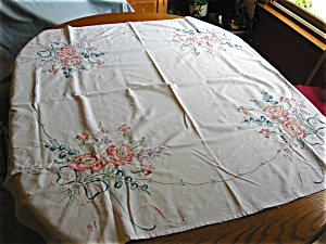Peach Flowers Cotton Tablecloth