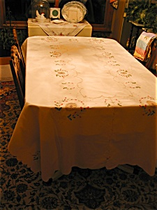 Large Rectangular Embroidered Tablecloth