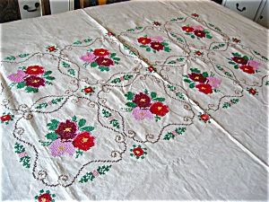 Belgian Linen Embroidered Tablecloth