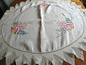 Embroidered Round Linen Tablecloth