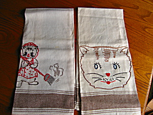 Vintage Embroidered Linen Cat Towels