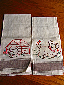 Vintage Embroidered Dog Towels