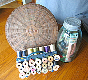 Vintage Sewing Basket And Notions
