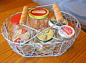 Vintage Glass Jars W/basket