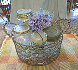 Wire Basket W/vintage Jars