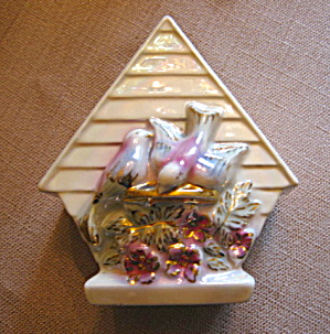 Gold Accent Vintage Birdhouse Wallpocket