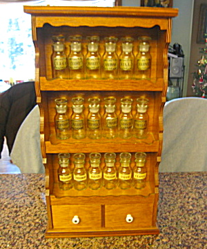 Spice Jars And Wood Vintage Rack