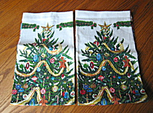 Vintage Christmas Linen Towels