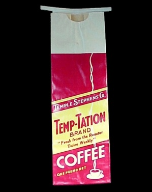 Temp-tation Brand Coffee Bag Temple Stephens Co 1 Pound Advertising