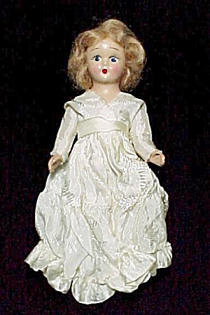 Vintage 7 Inch Composition Doll In Satin Damask Dress