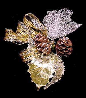 Vintage Christmas Corsage Pinecone Chenille Netting Gold Lace Ribbon