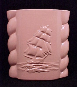 Abingdon Pottery Sailing Clipper Ship Vase Salmon No494