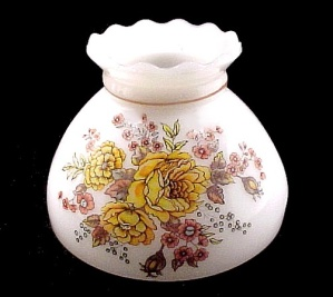 Floral Student Lamp Shade 8 In Milk Glass Orange Roses Yellow Vintage