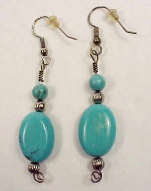 Turquoise 14mm X 18mm Dangle Earrings Hand Crafted Silver Plated Hooks