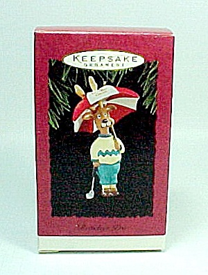 1994 Hallmark Christmas Tree Ornament Reindeer Pro Umbrella