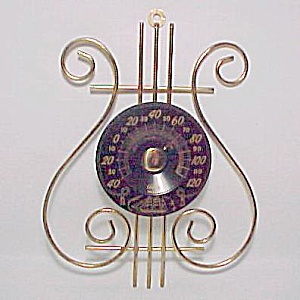 Musical Lyre Cooper Thermometer Sailing Ship Vintage