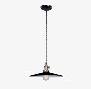 Industrial Style Pendant Light Fixture W/ Black Flat 10 In Shade