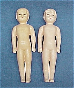 Pair Celluloid Boy Doll 6 Inch Vintage Toy 2 Dolls Lot