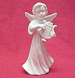 White Bisque Angel Figurine Playing A Harp Napco Japan