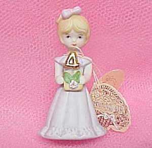 Enesco 1981 Growing Up Birthday Girl 4 Figurine Miniature