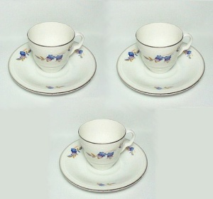 Czech Czechoslovakia China Demitasse Cup Saucer Art Deco Blue Floral