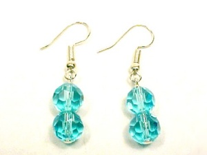 Aqua Faceted Glass 8mm Ball Dangle Earrings Silver Plated Hooks