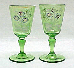 2 Victorian Green Wine Art Glass Enameled Flower Floral