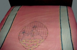 Embroidered Bedspread Coverlet Quilt Top Lady Parasol Victorian