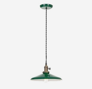 Pendant Light Fixture Industrial Style Green 14 In Shade Porcelain