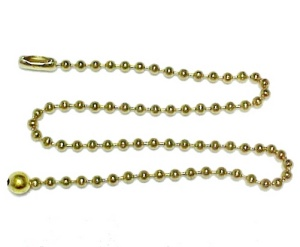 Pull Extension For Light Or Fan Brass Bead Chain W/ Connector 12 In