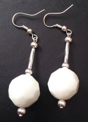 Opaque White Faceted Glass 15mm Ball Dangle Earrings Silver Plated
