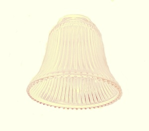 Pale Amber Light Shade Clear Ribbed Bell Ceiling Fan Wall Sconce As Is