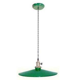 Industrial Style Pendant Light Fixture W Green 14 In Shade Porcelain