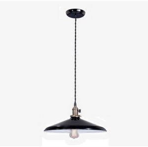 Industrial Style Pendant Light Fixture W/ 2 1/4 X14 Black Shade