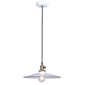 Industrial Style Pendant Light Fixture W 14 In White Shade Porcelain
