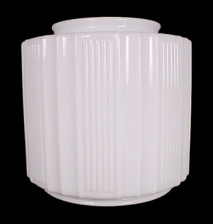 Art Deco Ceiling Pendant Light Shade Ribbed Milk Glass Vintage