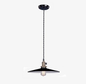 Pendant Light Fixture W Black 14 In Shade Industrial Style