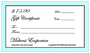 $75.00 Gift Certificate From The Midwest Emporium
