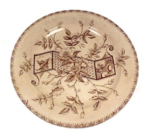 Rare Brown Transferware Antique Plate Victorian English