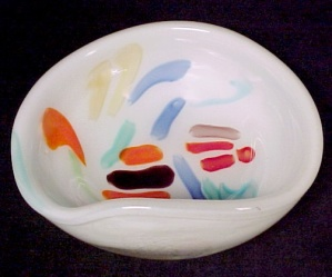 White Multi Color Free Form Art Glass Bowl Vintage