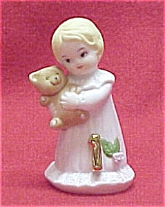 Enesco 1981 Growing Up Birthday Girl 1 Figurine Blonde Miniature