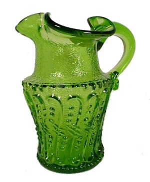 Green Kanawha Art Glass Pitcher Creamer Jug Vintage 1950s 1960s