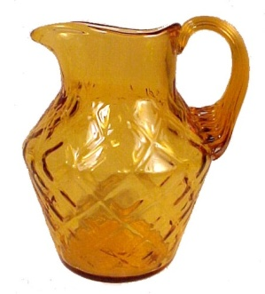 Amber Blown Art Glass Diamond 4 In Pitcher Jug Creamer